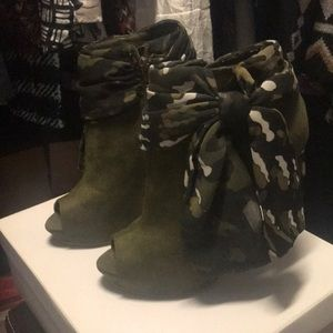 Green open toe booties